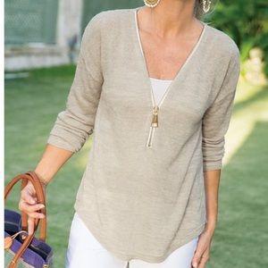 Soft surroundings Valentina half zip stone sweater